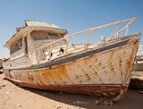 Abandoned boat in the desert