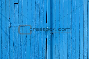 Old gate in wood, blue painted, for background