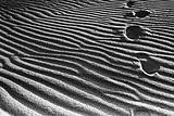 Footprints going over the sand