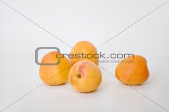 Four fresh apricots on white background