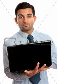 Business man with open laptop