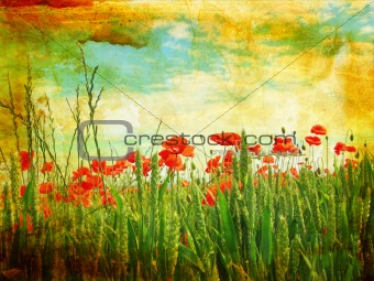 Grungy background with poppies