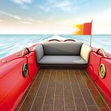 motror boat interiors and flag