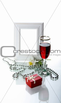 Frame, goblet and orchid