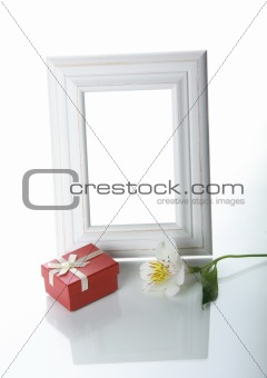 Frame, gift and orchid