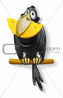 black crow with piece of cheese in beak
