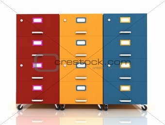 three colored wooden  file drawer