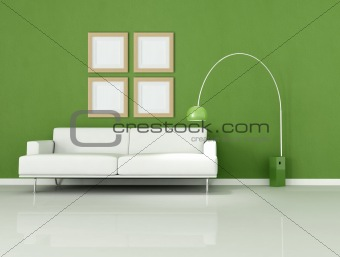 green and white minimal living-room