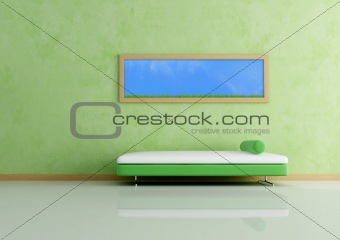 modern sofa and picture against grren wall