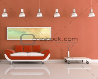 modern orange and white living room