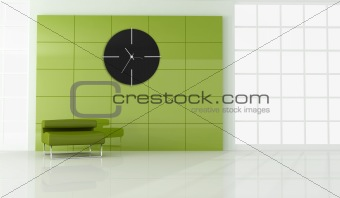 green armchair in empty modern room
