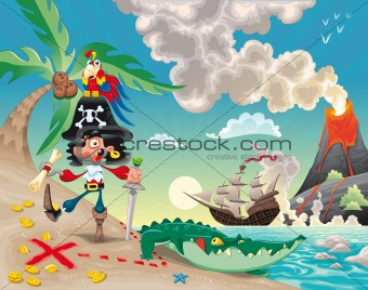 Pirate on the island.