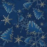 Blue seamless Christmas pattern