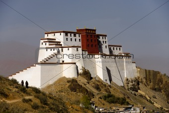 Tibetans Walk Around Samdrubtse Dzong Fort