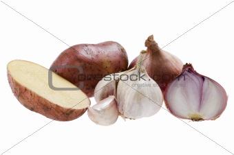 potato with onion on white background