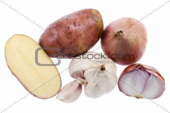 potato with onion on white