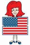Cartoon lady holding American flag