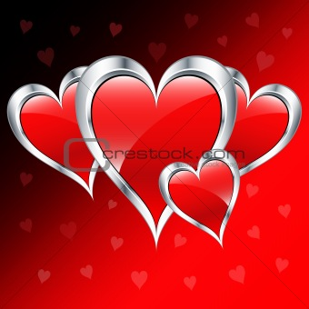 Valentine day love hearts in red