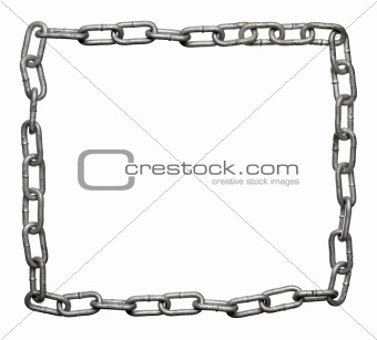 frame composed of silver metal chain links