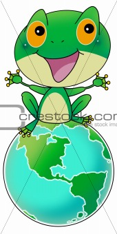 Green frog on earth