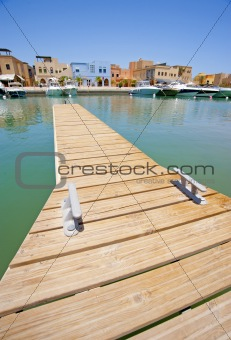 Small private jetty in a marina
