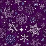 Seamless dark violet christmas pattern (vector)