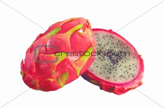 slices of prickly pear isolated on white