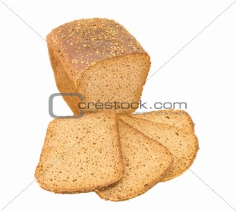 Bread with seeds isolated on white