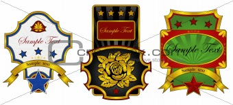 three labels decorated with gold