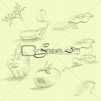 Sketch with vegetables