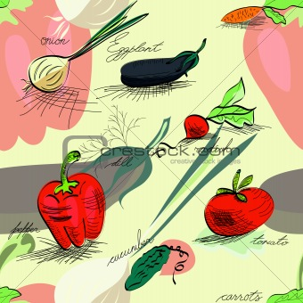 Seamless wallpaper with vegetables