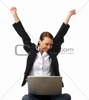 Attractive brunette business woman won something online