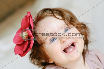 adorable baby-girl smile close-up