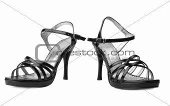 Black womanish shoe isolated on white