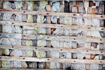 Old lattice - skeleton of concrete wall