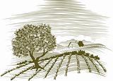 Woodcut Farm Scene