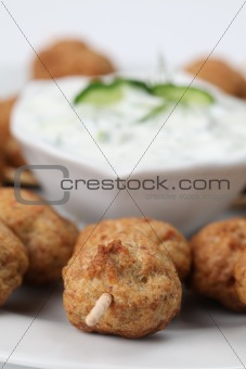 Kebab with tzatziki dip