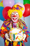 Crazy Clown with Birthday Cake