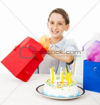 Little Boy Opens Birthday Gift