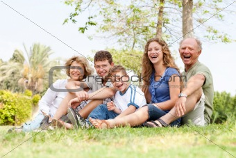 Affectionate family having fun outdoors