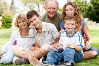 Portrait of happy family of five