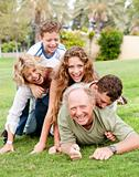 Family piling up on dad