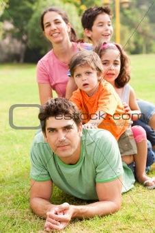 Affectionate family enjoying outdoors