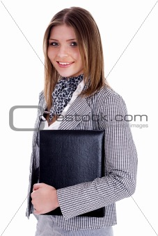 Young professional woman holding her office files