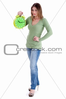 attractive young model  holding the clock