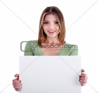 Charming young girl holding white bill board