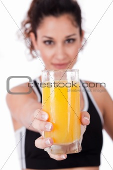 fitness girl holding a fresh juice