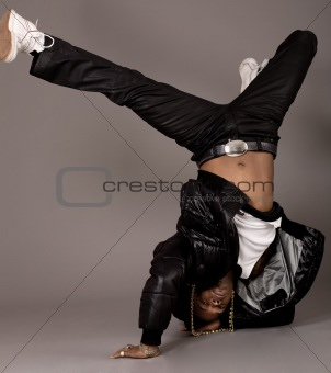 African american doing break dance