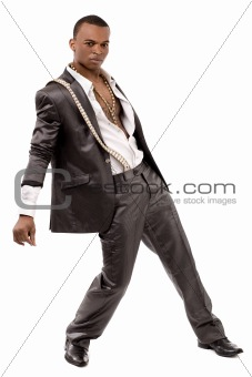 Black fashion man posing at the camera