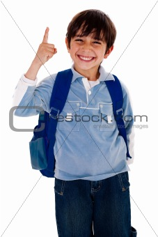 Cute young boy pointing upwards
